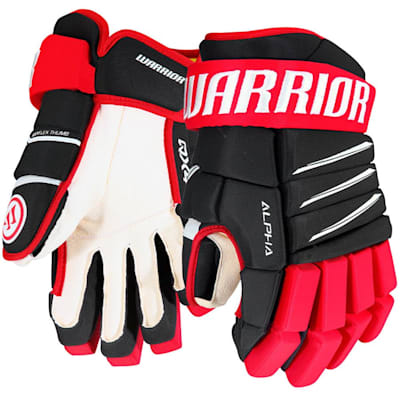 Black/Red/White (Warrior Alpha QX4 Hockey Gloves - Junior)