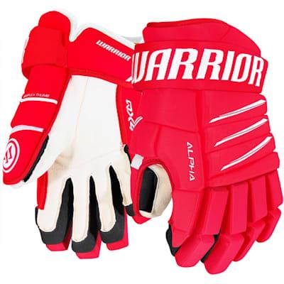 Red/White (Warrior Alpha QX4 Ice Hockey Gloves - Junior)