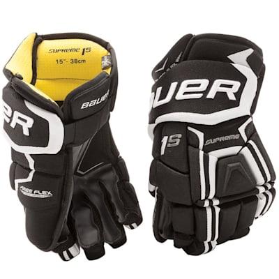 Black/White (Bauer Supreme 1S Hockey Gloves - 2017 - Senior)