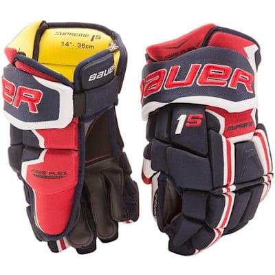 Navy/Red/White (Bauer Supreme 1S Hockey Gloves - 2017 - Senior)