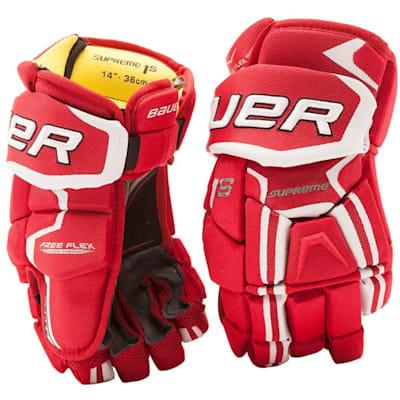 Red (Bauer Supreme 1S Hockey Gloves - 2017 - Senior)