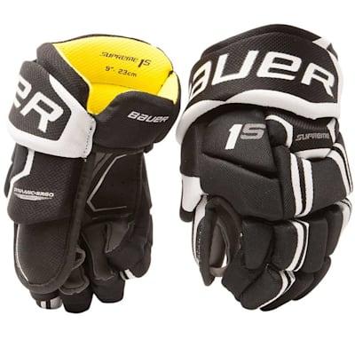 Black/White (Bauer Supreme 1S Hockey Gloves - 2017 - Youth)