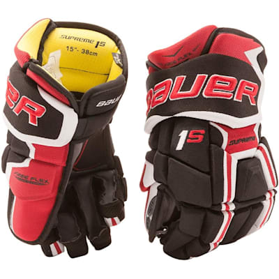 Black/Red (Bauer Supreme 1S Hockey Gloves - 2017 - Youth)