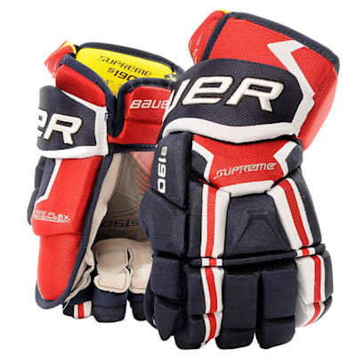 Navy/Red/White (Bauer Supreme S190 Hockey Gloves - 2017 - Junior)