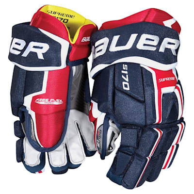 Navy/Red/White (Bauer Supreme S170 Hockey Gloves - 2017 - Junior)