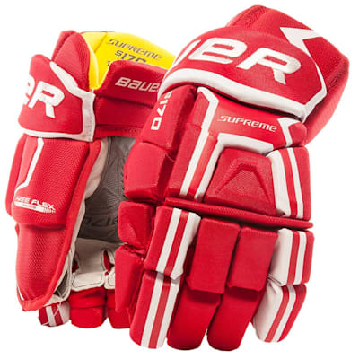 Red (Bauer Supreme S170 Hockey Gloves - 2017 - Junior)