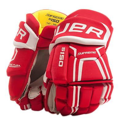 Red (Bauer Supreme S150 Hockey Gloves - 2017 - Junior)