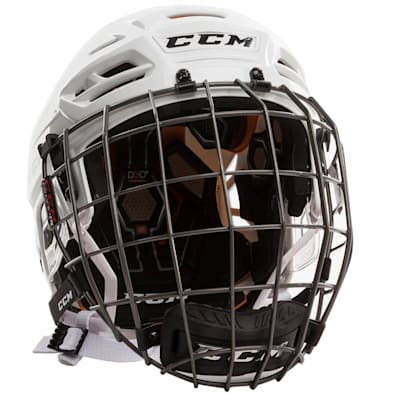 White (CCM Tacks 710 Hockey Helmet Combo)