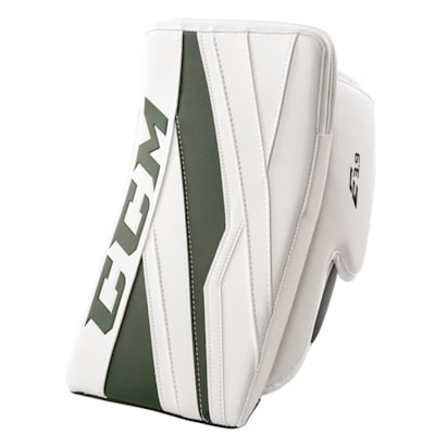 White/Dark Green (CCM Extreme Flex E3.9 Goalie Blocker - Senior)