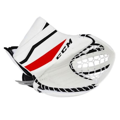 White/Black/Red (CCM Extreme Flex E3.5 Goalie Catch Glove - Senior)