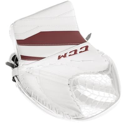 White/Maroon (CCM Extreme Flex E3.9 Hockey Goalie Catcher - Senior)