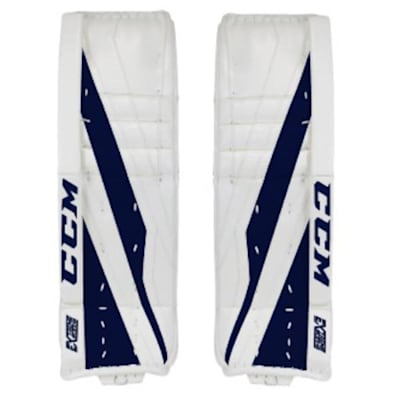 White/Navy (CCM Extreme Flex E3.5 Hockey Goalie Leg Pads - Senior)