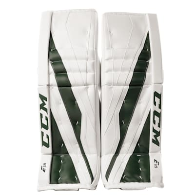 White/Dark Green (CCM Extreme Flex E3.9 Goalie Leg Pads - Senior)