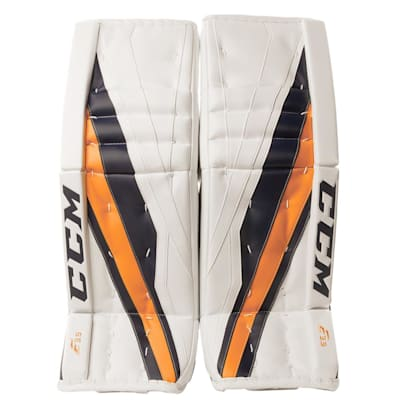 White/Navy/Gold (CCM Extreme Flex E3.9 Goalie Leg Pads - Senior)