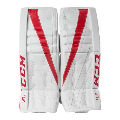 White/Red (CCM Extreme Flex E3.9 Hockey Goalie Leg Pads - Senior)