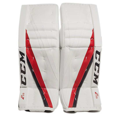 White/Navy/Red (CCM Extreme Flex E3.9 Goalie Leg Pads - Senior)