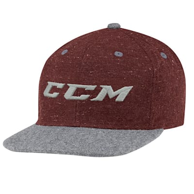 Burgundy/Grey (CCM Chambray Snapback Hockey Hat - Adult)