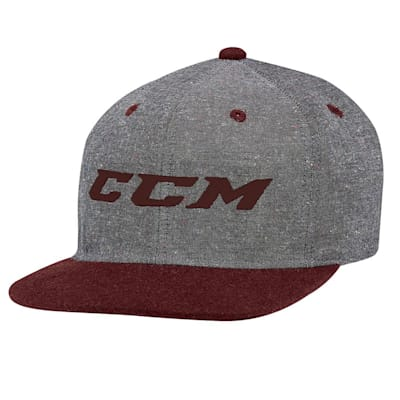 Grey/Burgundy (CCM Chambray Snapback Hockey Hat - Adult)