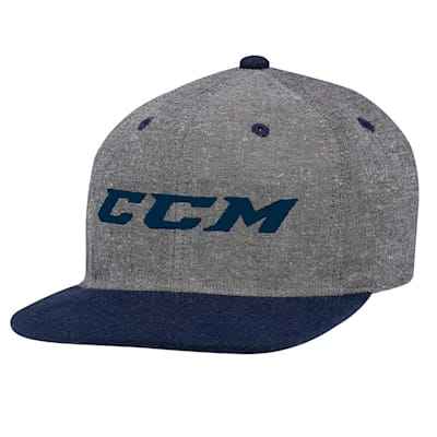 Grey/College Blue (CCM Chambray Snapback Hockey Hat - Adult)
