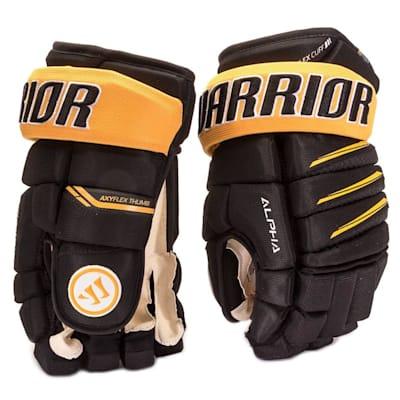 Black/Sport Gold (Warrior Alpha Pro Hockey Gloves - Senior)