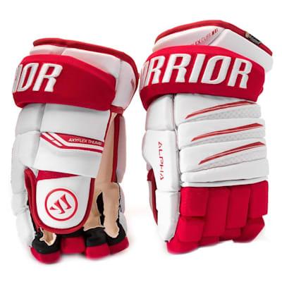 White/Red (Warrior Alpha Pro Hockey Gloves - Senior)