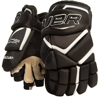 Black/White (Bauer Vapor Matrix Pro Hockey Gloves - 2017 - Junior)