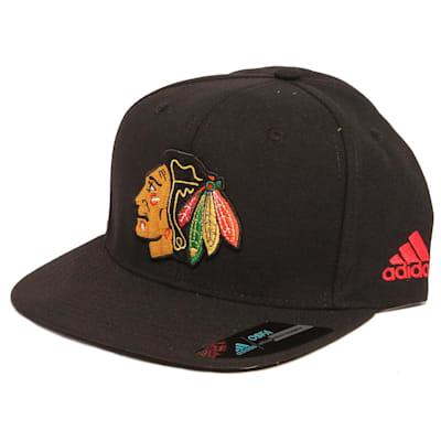 Flat Brim Blackhawks Cap (Adidas Flat Brim Chicago Blackhawks Hockey Hat)