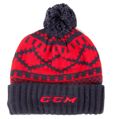 Navy/Red (CCM Pure Hockey Exclusive Cuffed Pom Knit Hat - Adult)