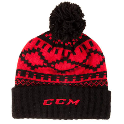 Black/Red (CCM Pure Hockey Exclusive Cuffed Pom Knit Hat - Adult)