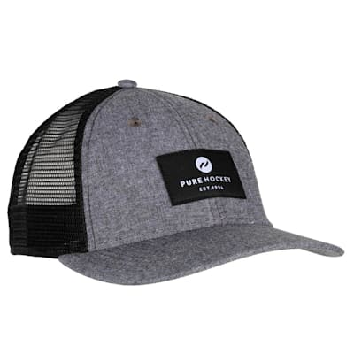 (Pure Hockey Chambray Grey Mesh Back Hat - Adult)