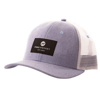 (Pure Hockey Chambray Royal/Black Mesh Back Hat - Adult)
