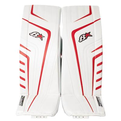 White/Red (Brians OPT1K Goalie Leg Pads - Senior)