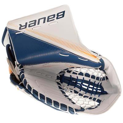White/Blue/Gold (Bauer Supreme S27 Goalie Catch Glove - Junior)