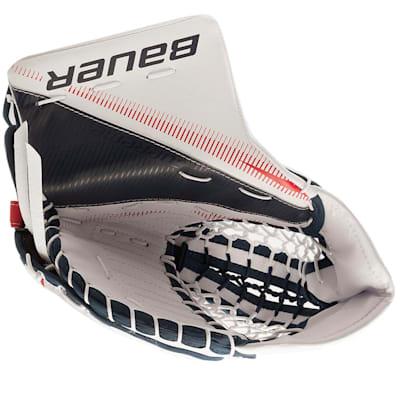 White/Navy/Red (Bauer Supreme S27 Goalie Catch Glove - Junior)