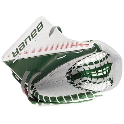 White/Red/Green (Bauer Supreme S27 Goalie Catch Glove - Junior)