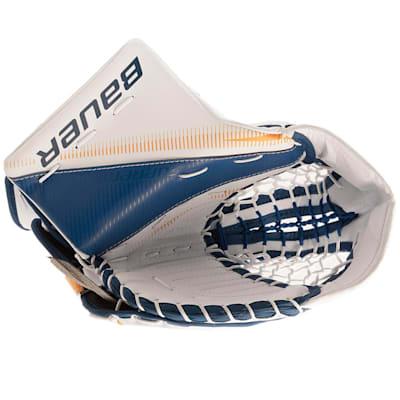 White/Blue/Gold (Bauer Supreme S27 Goalie Catch Glove - Senior)