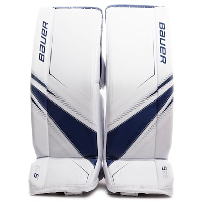 White/Blue (Bauer Supreme S29 Goalie Leg Pads - Intermediate)