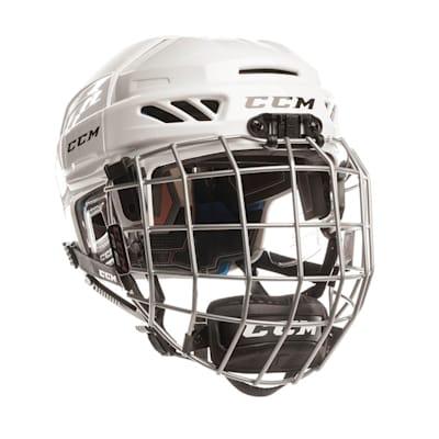 White (CCM Fitlite 3DS Junior Hockey Helmet Combo - Junior)