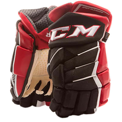 Black/Red/White (CCM JetSpeed FT1 Hockey Gloves - Junior)