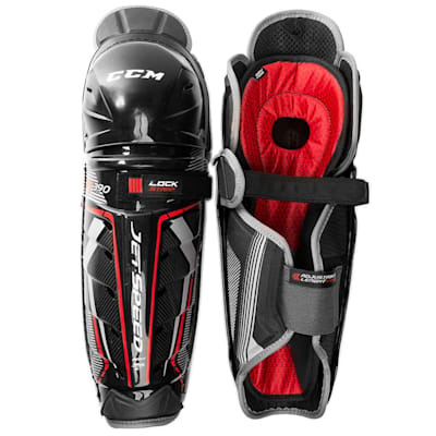 (CCM JetSpeed FT390 Hockey Shin Guards - Junior)