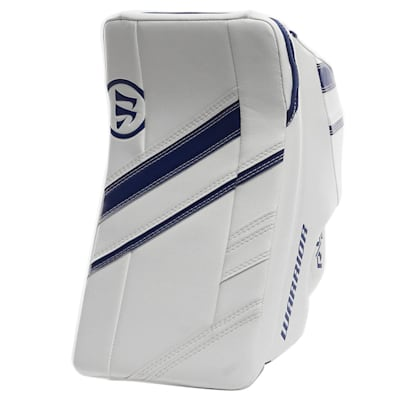 White/Blue (Warrior Ritual G4 Pro Goalie Blocker - Senior)