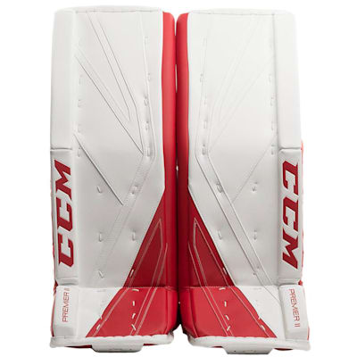 White/Red (CCM Premier II Pro Goalie Leg Pads - Senior)