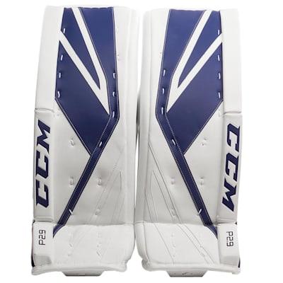 White/Blue (CCM Premier P2.9 Goalie Leg Pads - Intermediate)