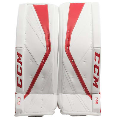 White/Red (CCM Premier P2.9 Goalie Leg Pads - Intermediate)