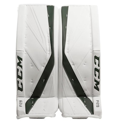 White/Dark Green (CCM Premier P2.9 Goalie Leg Pads - Senior)