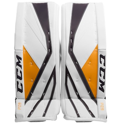 White/Navy/Gold (CCM Premier P2.9 Goalie Leg Pads - Senior)