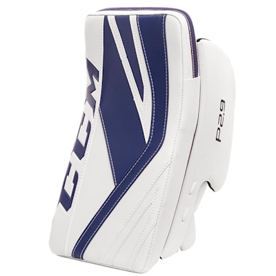 White/Blue (CCM Premier P2.9 Goalie Blocker - Senior)