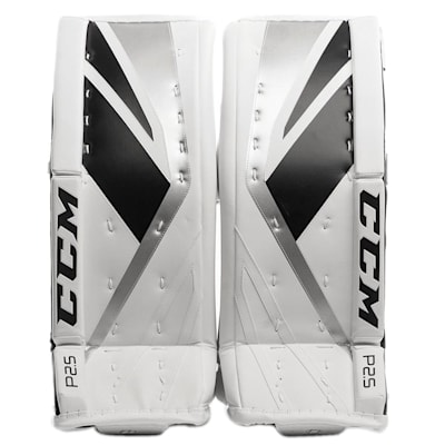 White/Black/Silver (CCM Premier P2.5 Goalie Leg Pads - Junior)