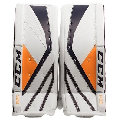 White/Navy/Gold (CCM Premier P2.5 Goalie Leg Pads - Junior)