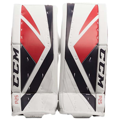 White/Navy/Red (CCM Premier P2.5 Goalie Leg Pads - Junior)